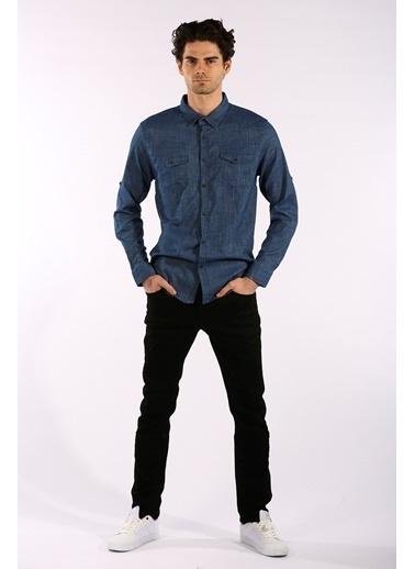 Rodrigo Erkek Siyah Çift Cep Kapaklı Jean Gömlek Mavi